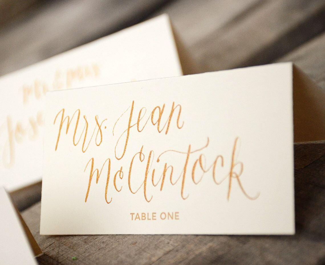 Place cards handwritten calligraphy personalized tent
