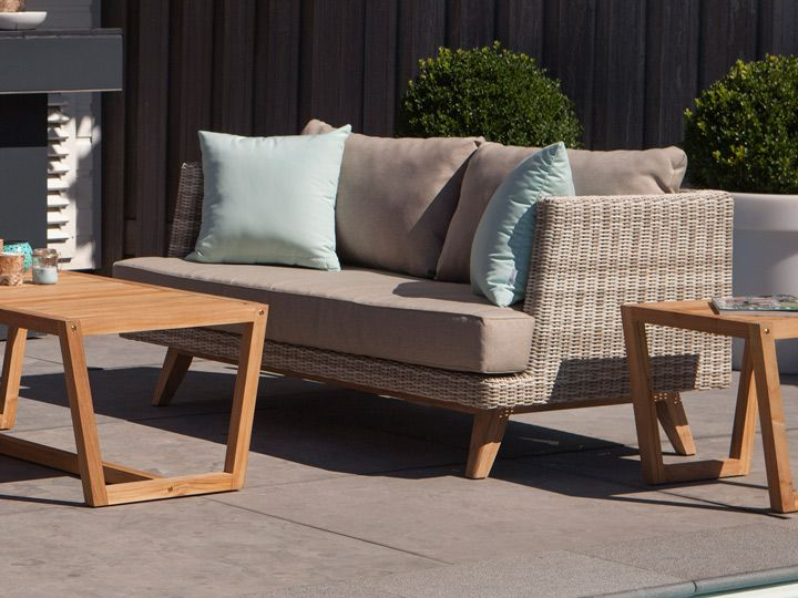 Lounge sofa 2 sitzer outdoor  Exotan Arosa Gartensofa 2-Sitzer Teak & Polyrattan Taupe | Arosa ...