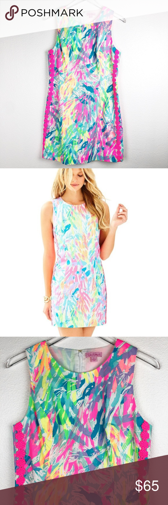 348c0a82 Lilly Pulitzer Mila Shift Dress Sparkling Sands 6 Shift dress in neon leaf  print. Embroidered