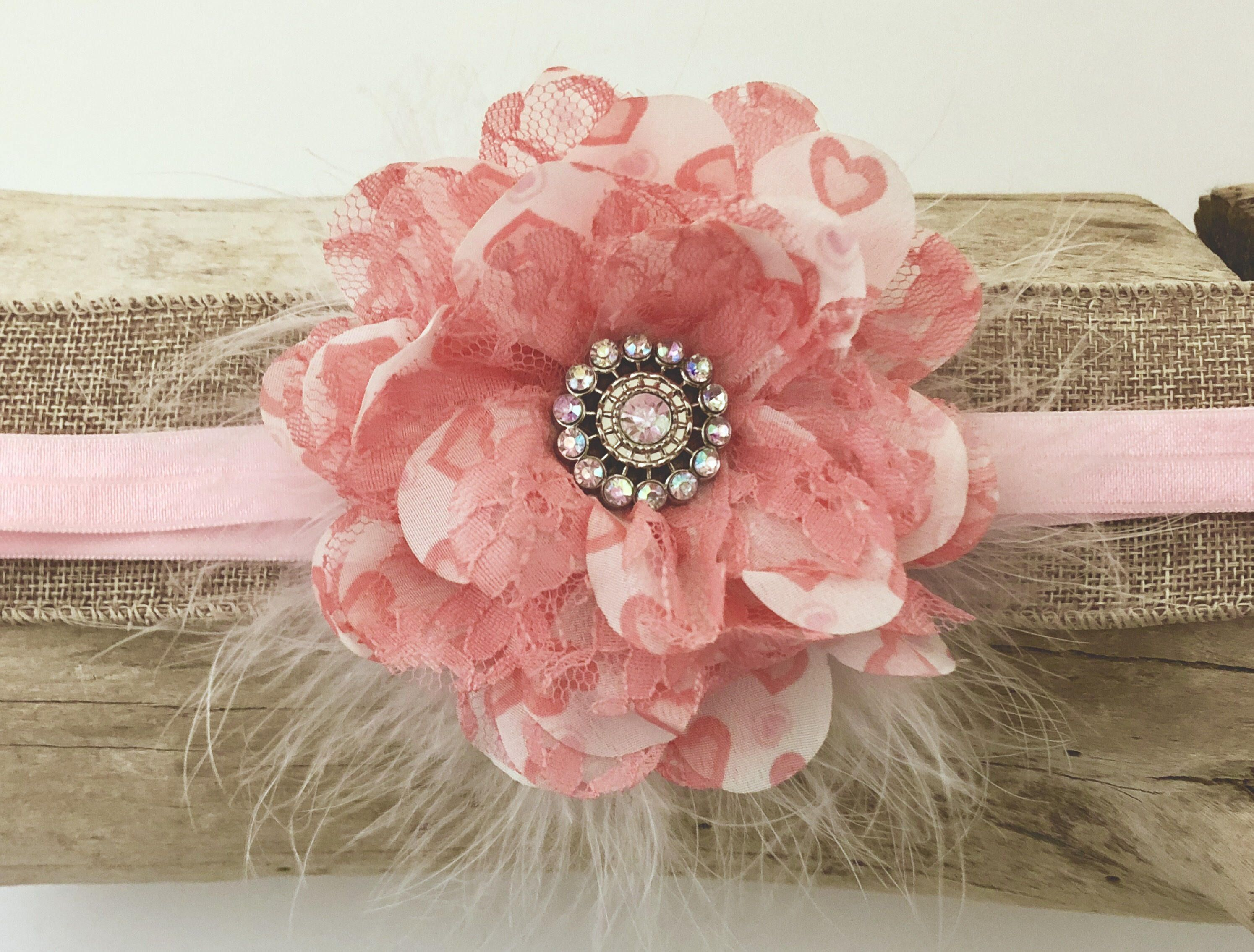 Pink coral flower headband coral lace pink chiffon flower marabou pink coral flower headband coral lace pink chiffon flower marabou baby headband flower girl mightylinksfo Images
