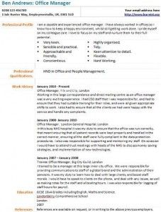 Office Manager Cv Example  Future    Cv Examples