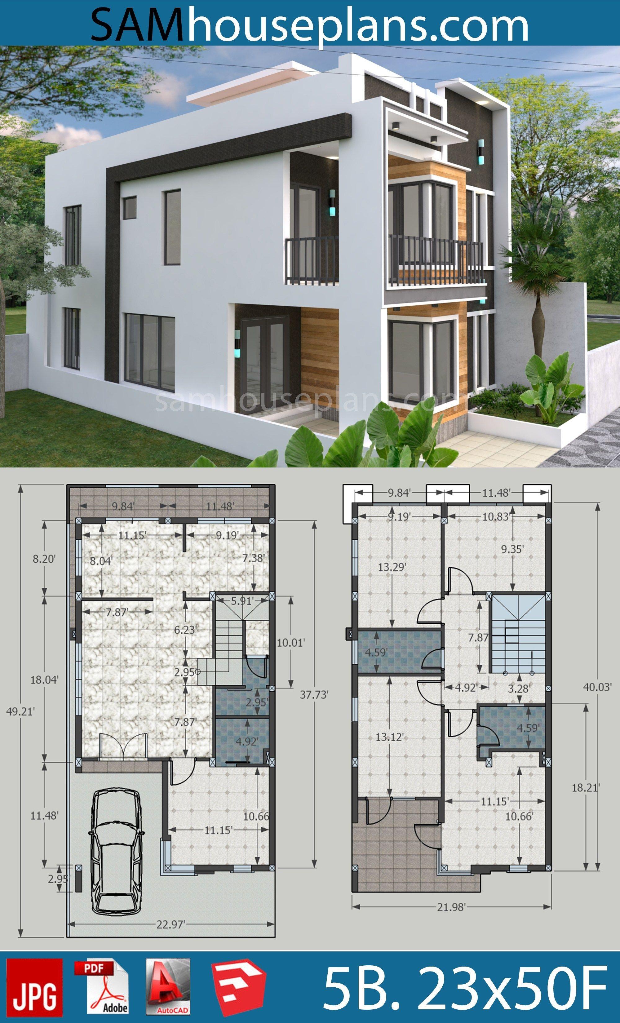 House Plans 7x15m With 4 Bedrooms Sam House Plans Model House Plan Duplex House Design Architectural House Plans