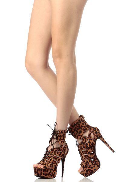 Leopard Print Faux Suede Open Toe Lace Up Platform Heels