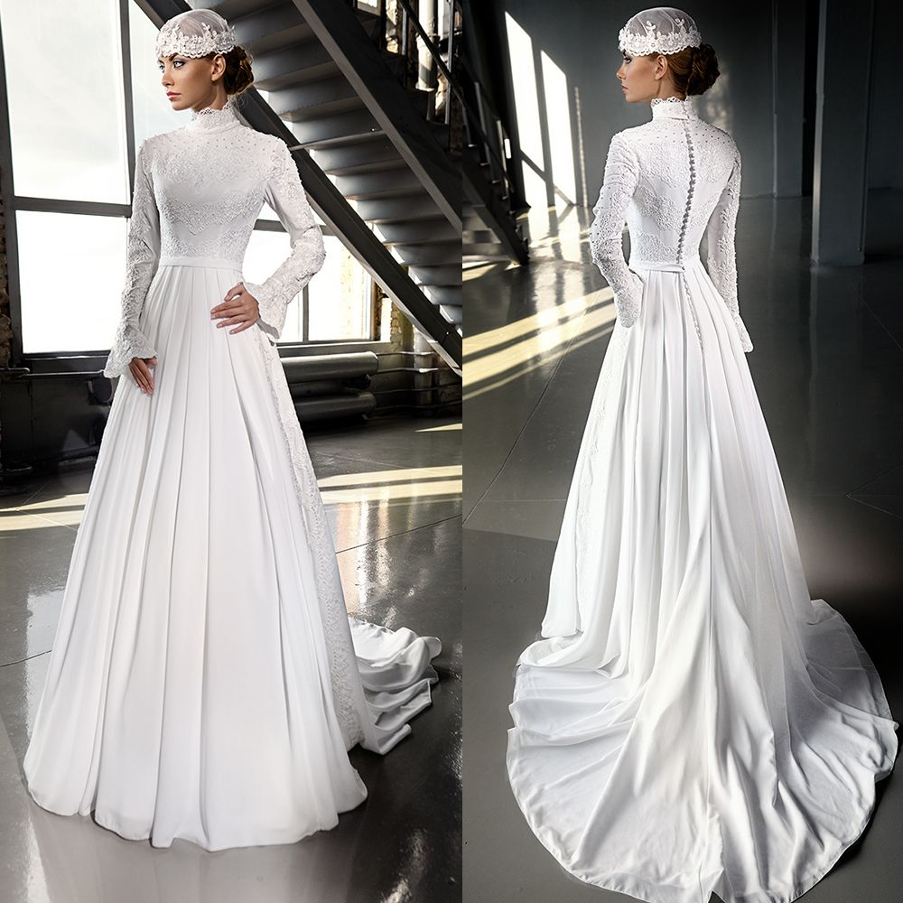 Find a luxury ivory chiffon hijab muslim wedding dress 2016 beaded find a luxury ivory chiffon hijab muslim wedding dress 2016 beaded lace high neck wedding dresses ombrellifo Image collections