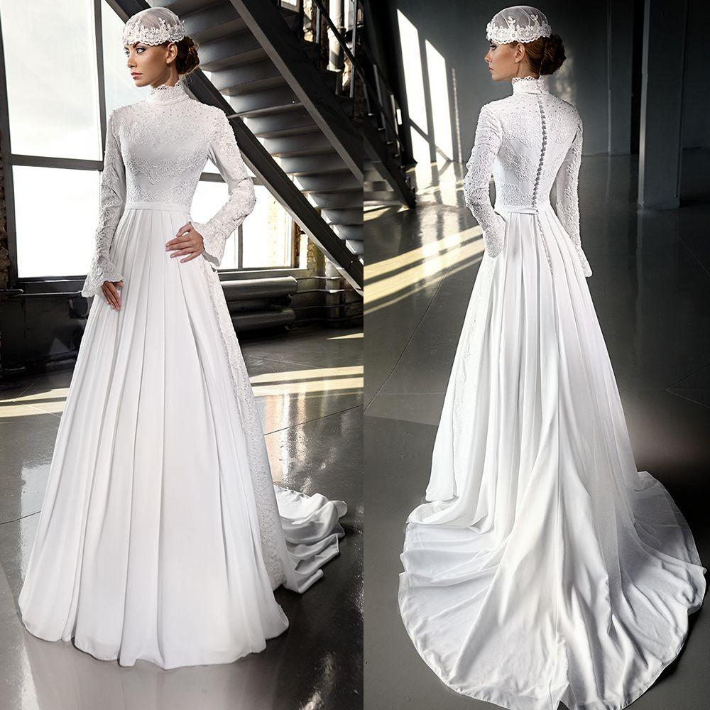 Find a Luxury Ivory Chiffon Hijab Muslim Wedding Dress 2016 Beaded ...