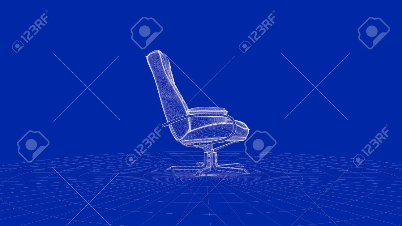 3d rendering of an outline chair object on a blue