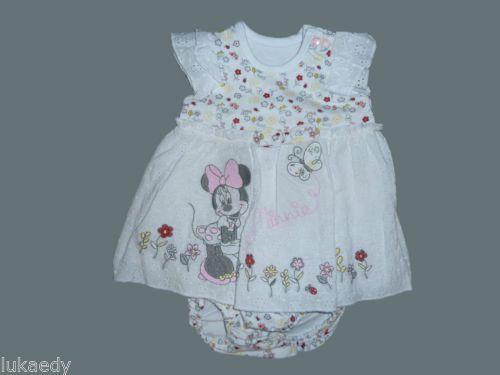 433f89f5c4651 Robe-bebe-Minnie-Mouse-Blanche-jolie-ensemble-naissance-1-mois-filles-Disney