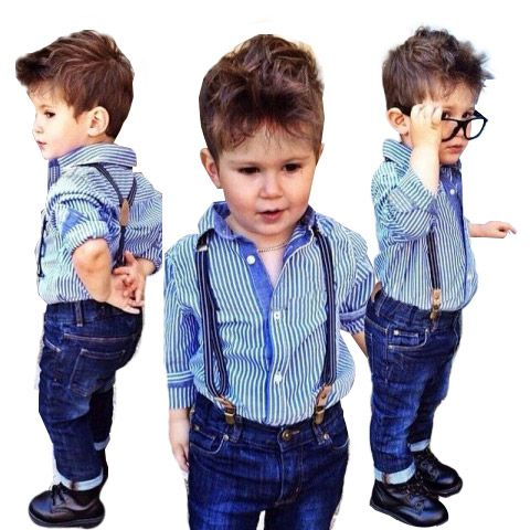 b02da7734678f Summer Children Boys Clothing Set Blue striped Long-sleeved T-Shirt + Strap  Jeans