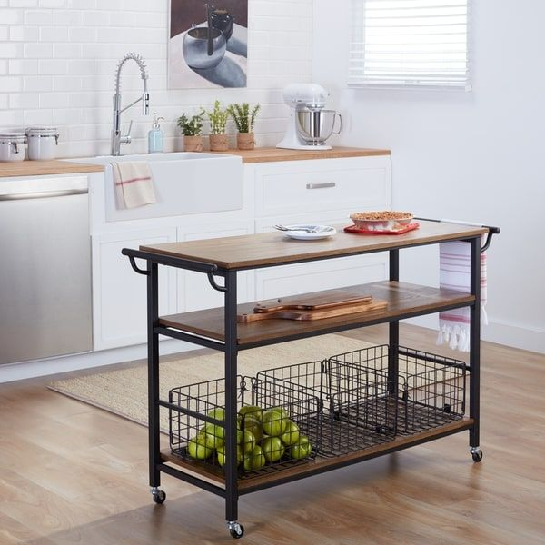 Metal Frame Rustic Kitchen Cart With Wood Tabletops And Shelves Simple Rustic Kitchen Cart Design Ideas