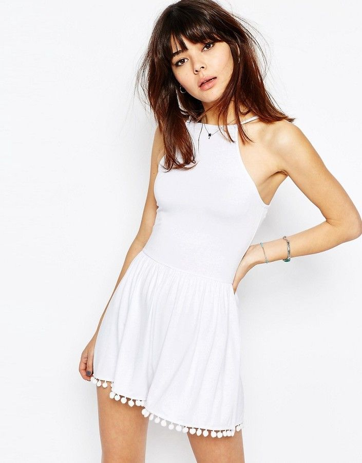 ASOS COLLECTION ASOS 90's Strappy Romper with Tie Back and Pom Pom hem
