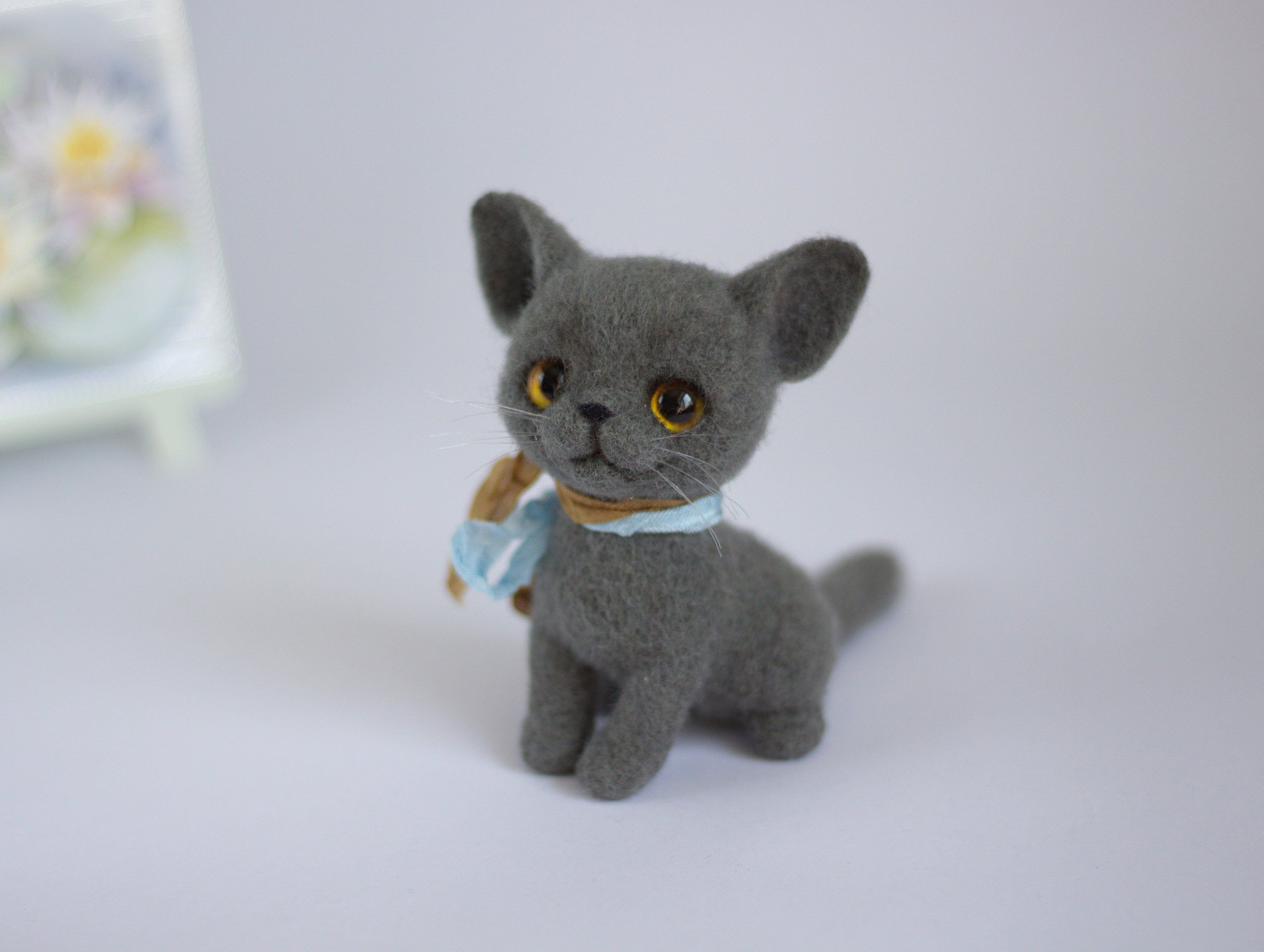 Needle felted gray cat kitten sculpture needle felt animal cat miniature Spring felted cat mini little cat wool cute cat gift #needlefeltedcat Needle felted gray cat kitten sculpture needle felt animal cat miniature Spring felted cat mini little cat wool cute cat gift #needlefeltedcat