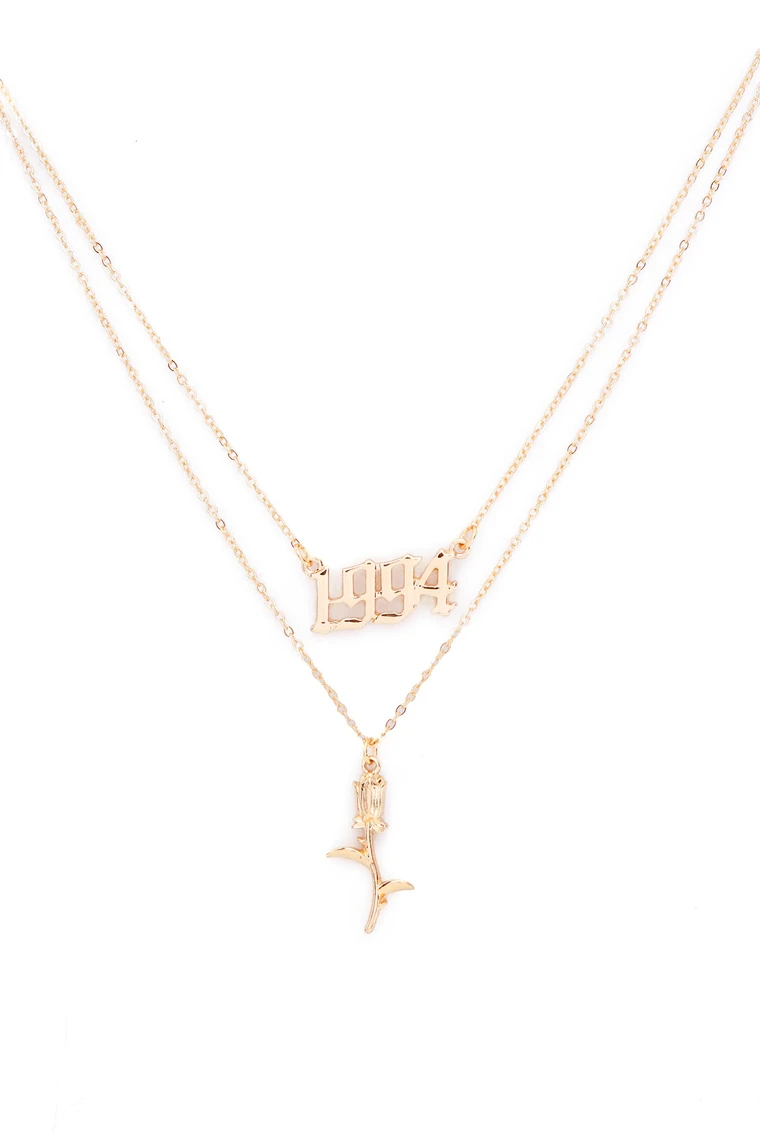 1994 Rose Necklace Gold Rose Gold Necklace Rose Necklace Gold Necklace