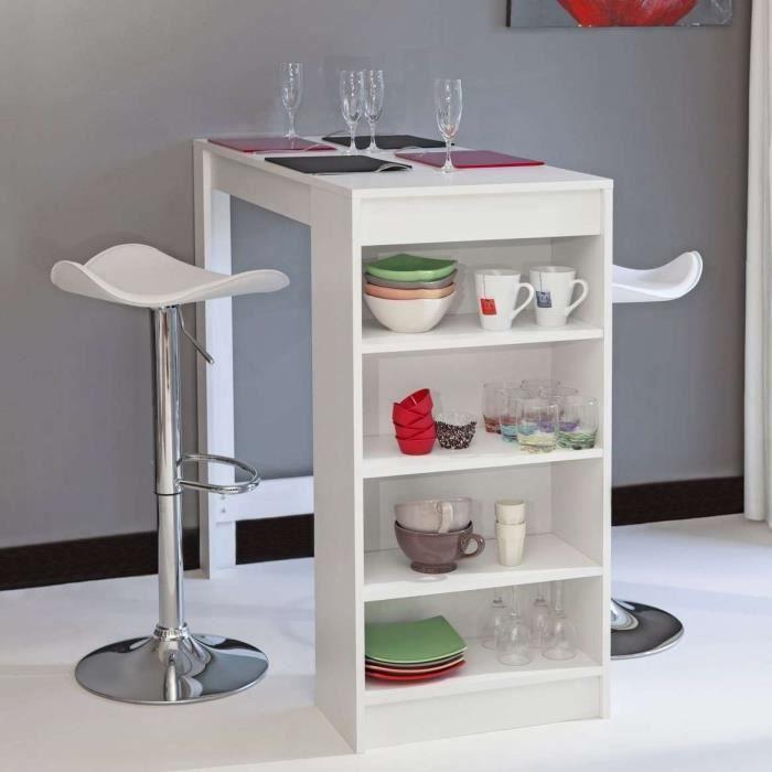 Captivant CHILI Table Bar De 2 à 4 Personnes Style Contemporain Blanc Mat   L 115 Cm Bonnes Idees