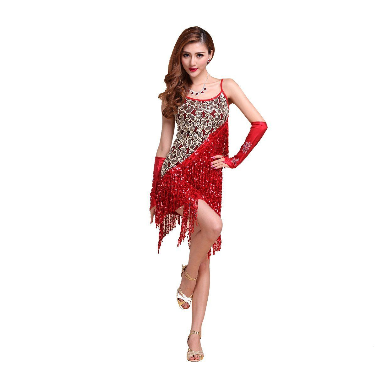 CoastaCloud-Señoras Volante Salsa Tango Flamenco Baile Latino Elegante  Vestido Rojo sin guantes L 44c541b971571