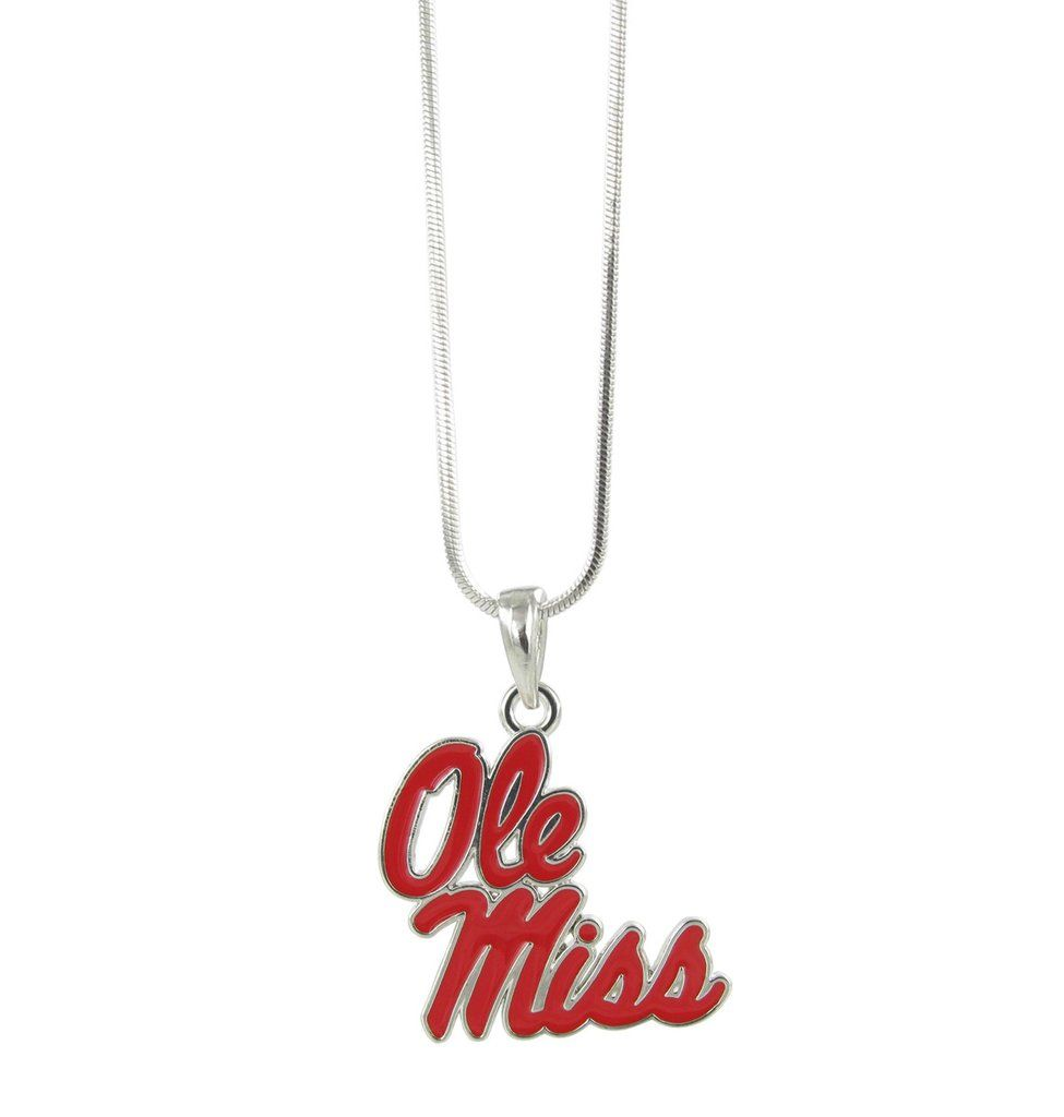 Red Ole Miss Logo Pendant Necklace