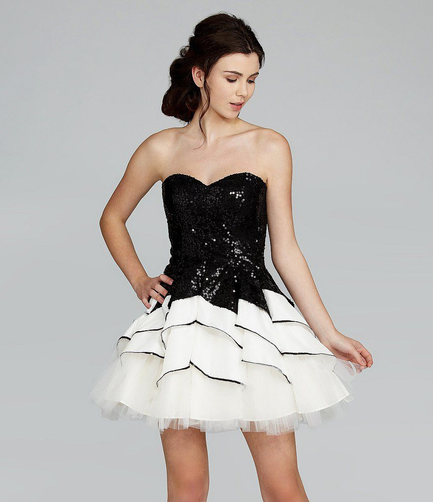 Dillards Masquerade Strapless Sequin Tiered Swing Party Dress ...