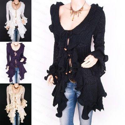 Fabulous Ruffles Collared Knit Cardigan Long Sweater Jacket | eBay