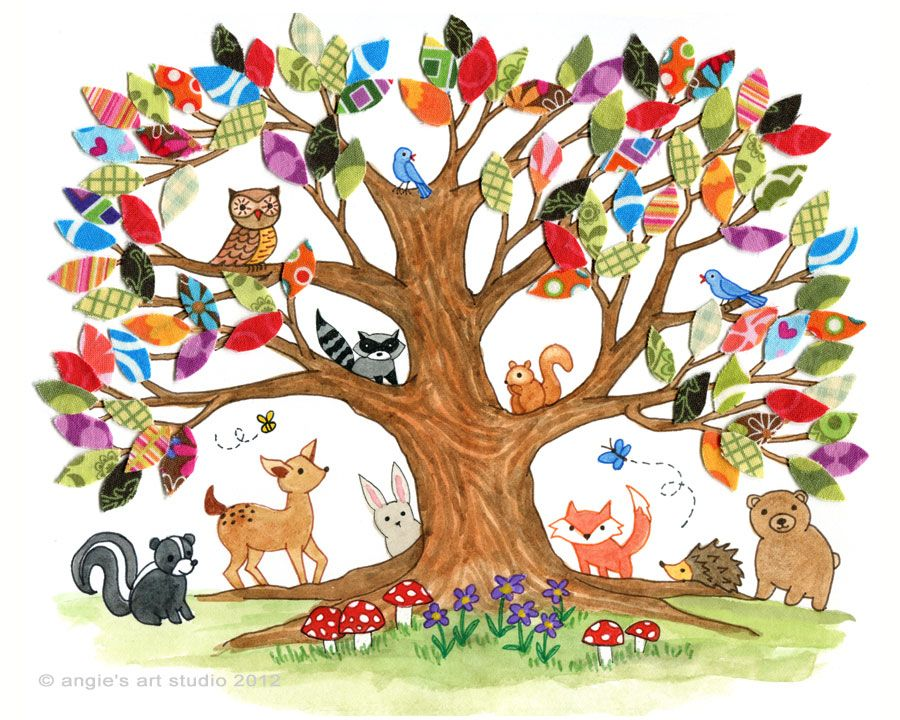 Tree Of Life Woodland Creatures Angie S Art Studio Woodland Creatures Nursery Tree Art Woodland Creatures