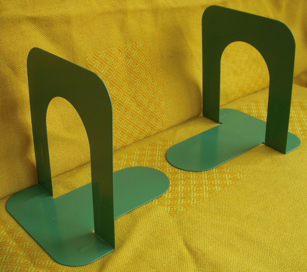 A Pair Of Green Painted Metal Vintage Book Ends   Industrial Office Bookends