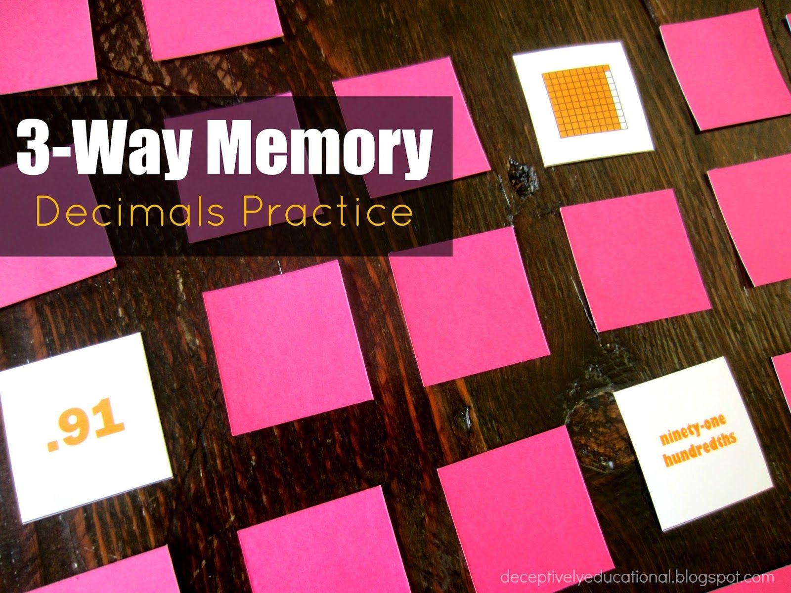3 Way Memory Decimals Practice