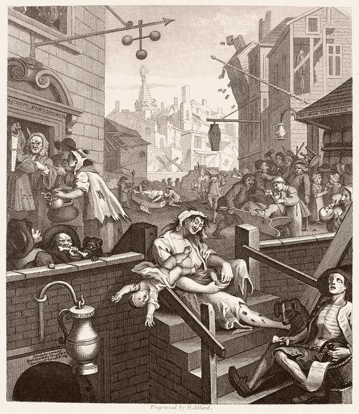 Print Of Hogarth Gin Lane Beer Street And Gin Lane Steel