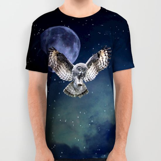 Owl in Flight and Blue Moon All Over Print Shirt