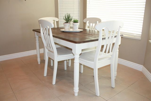 Kitchen table refinish stained wood top white chairs and table bottom for the smaller round - Refinishing a kitchen table ...
