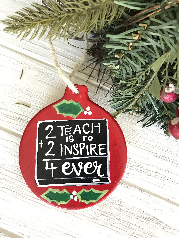 hand painted teacher christmas ornament teacher gift principal gift