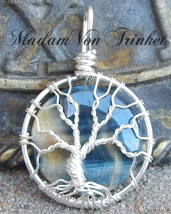 Wire Wrapped Hawk\'s Eye Blue Tiger\'s Eye Mini Tree of Life | Wire ...