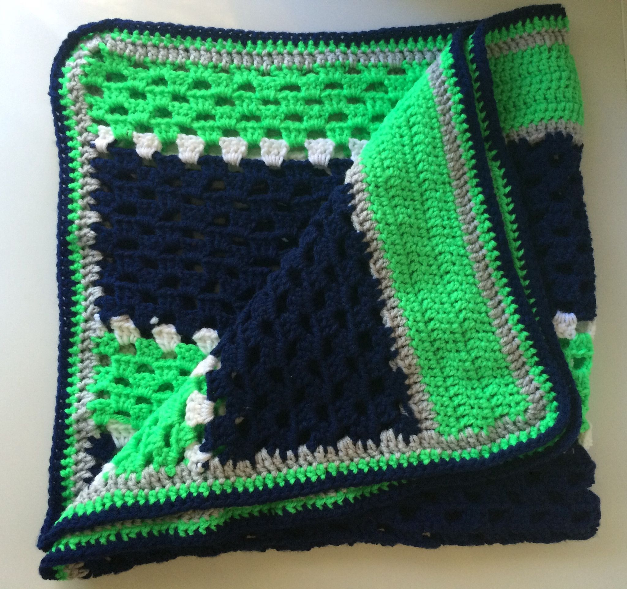 Seattle Seahawks Inspired Football Crochet Baby Blanket | A ...