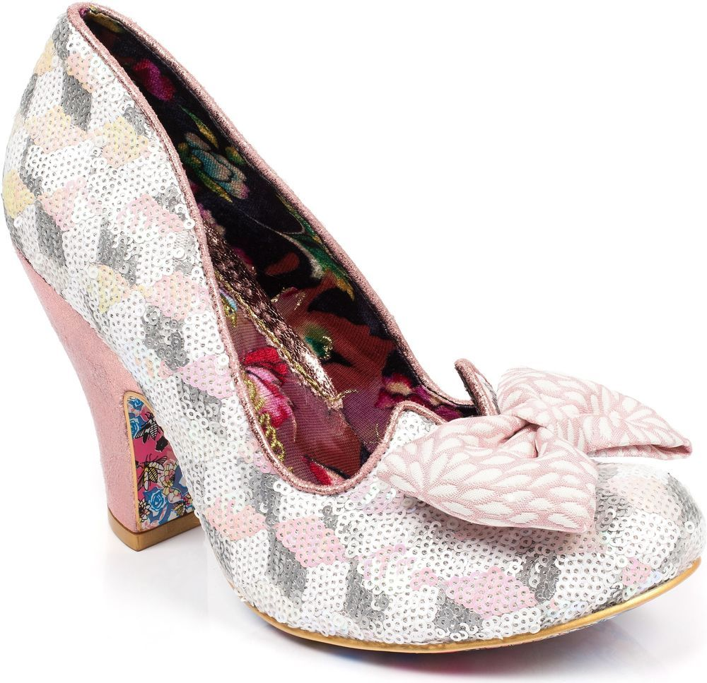 05f66aa72696 Irregular Choice Nick Of Time Women s Pink Sequin High Heel Wedding Shoes  New