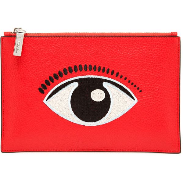 KENZO Embroidered Eye Leather Clutch Bag ($205) ❤ liked on Polyvore featuring bags, handbags, clutches, accessories, red, red handbags, real leather purses, leather purses, embroidered purse and red leather purse