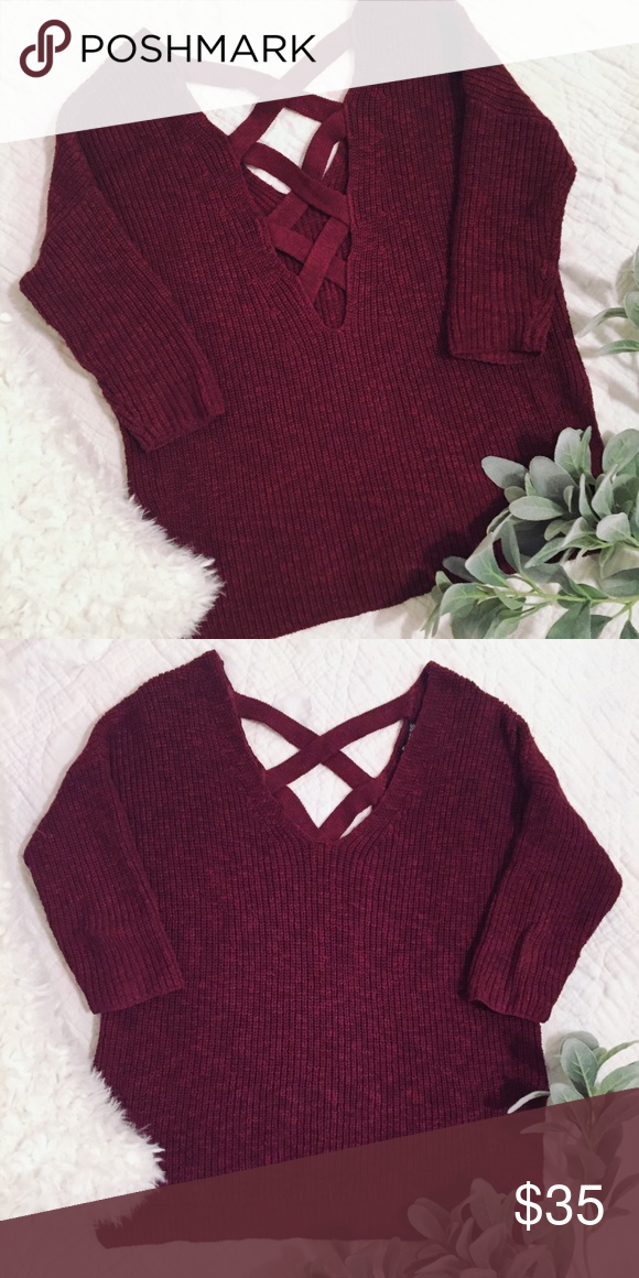a570cab9ac9 Express Crisscross Back Sweater Super cute maroon   burgundy colored sweater  from Express with crisscross back detailing. Size small