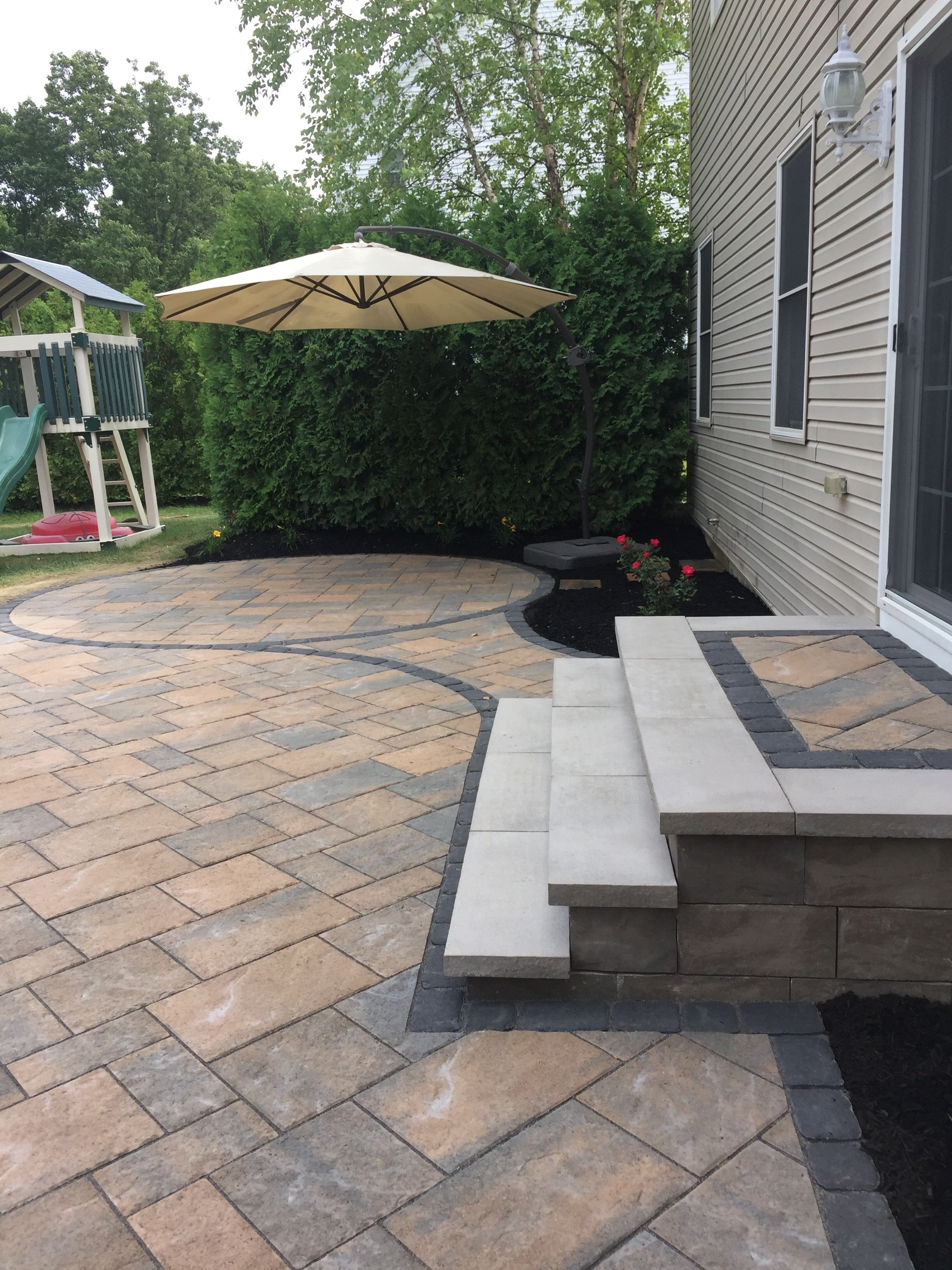 square paver patio with fire pit. 600sf Paver Patio With A Square 120K BTU Natural Gas Fire Pit Completed In Erie Pa. Techo-bloc Material. Blu60mm Color Sandlewood, Villiagio