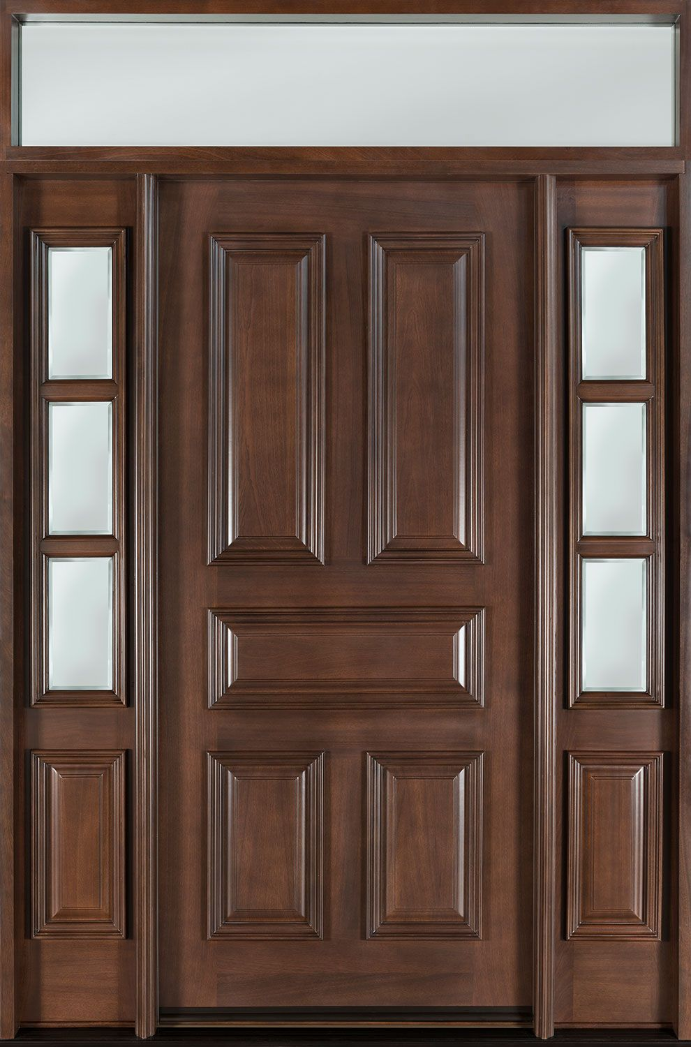 Mahogany solid wood front entry door single with 2 sidelites w transom