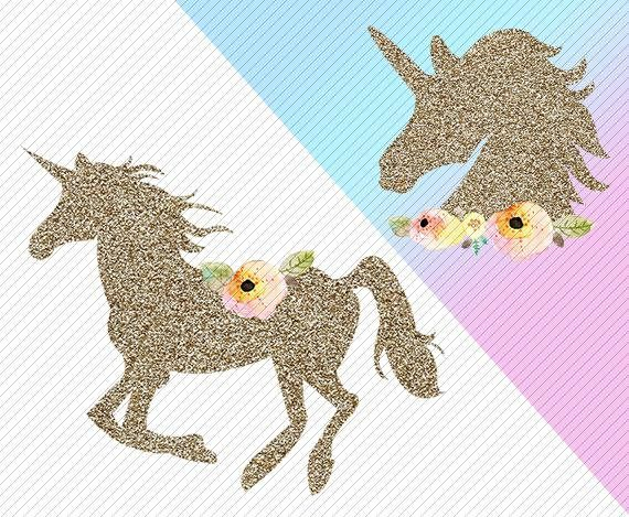 Watercolor Unicorn Clipart. Unicorn Printable. Golden