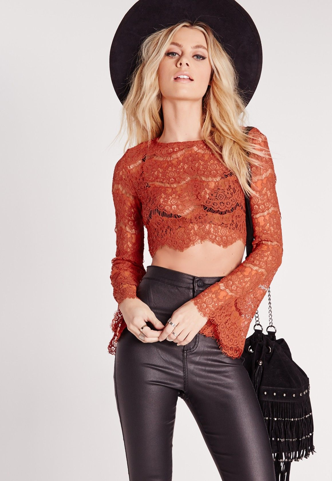 70d86dea6bca3f Missguided - Lace Bell Sleeve Crop Top Rust | • c l o t h e s ...