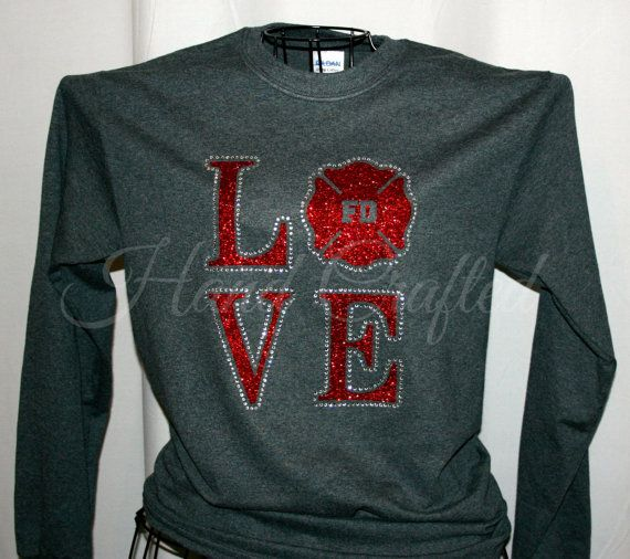 Fire Department LOVE Shirt Customizable Glitter by
