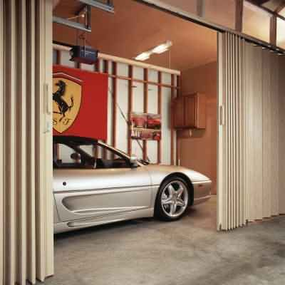 Split Garage Space With An Accordion Door Room Divider Or Partition It Somehow