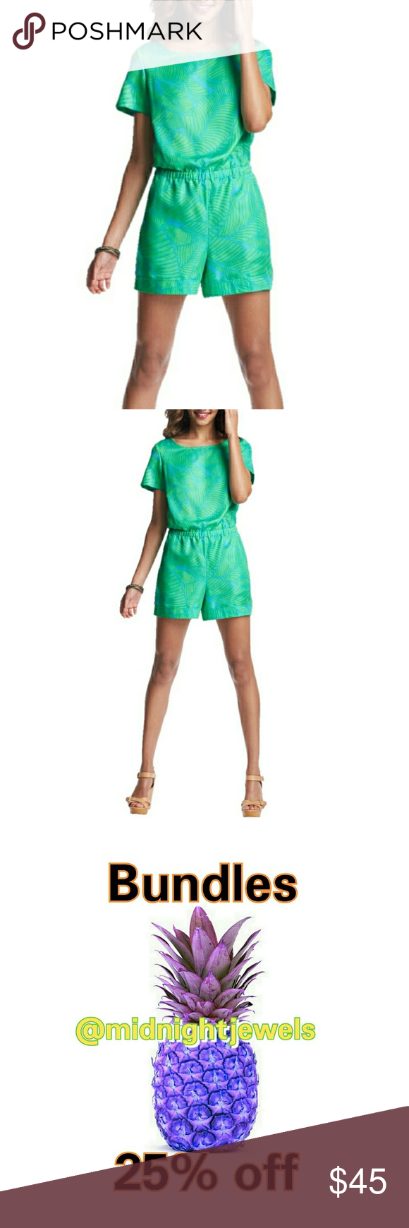 Ann taylor loft green romper xl vivid fern just absolutely