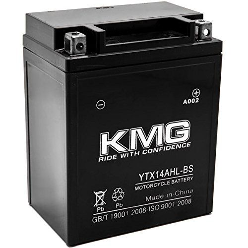 YTX14AHL-BS Sealed Maintenace Free 12V Battery High Performance SMF OEM Replacement Maintenance Free Powersport Motorcycle ATV Scooter Snowmobile Watercraft KMG   	  	    	  	$ 41.99 Motorcycle & ATV Product Features Battery Family: High Performance, Sealed Maintenance Free (SMF) Voltage: 12 Volts Polarity: [ – ]——–[ + ] Battery Type Number: YTX14AHL-BS Dimensions: 134mm x 89mm x 166mm Motorcycle & ATV Product Description The KMG Battery is maintenance-free, resists shock and vib..