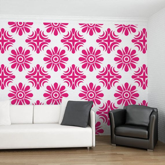 Living Room Yoga Studio Coogee: Floral Geometric Wallpaper Pattern Decals For Living Room