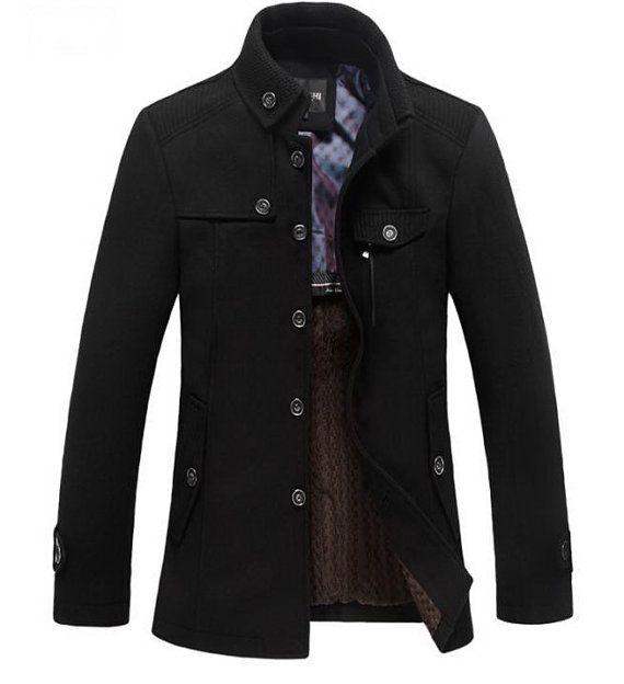 Standing Collar Men's Coats Wool Blazer Jackets by ZenbClothing