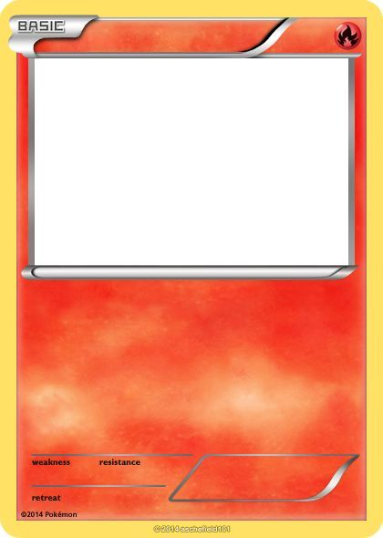 Blank Fire Pokemon Cards Images Pokemon Card Template Pokemon Birthday Card Pokemon Party Invitations