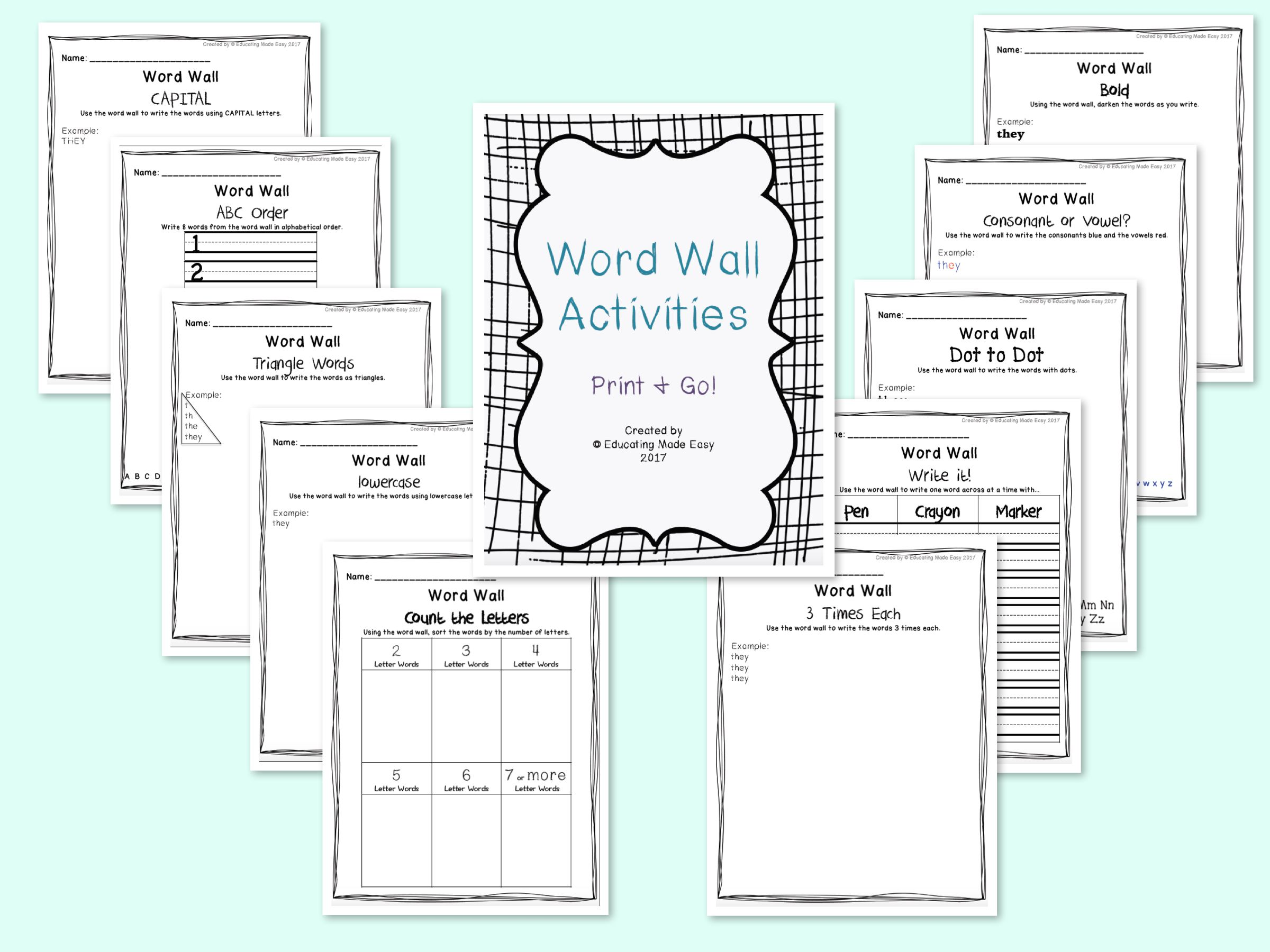 Word Wall Center Activity Sheets