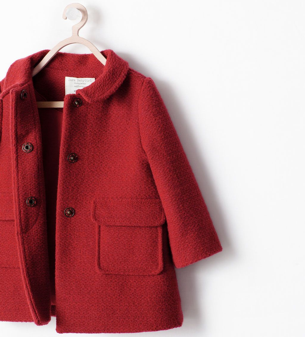ZARA - KIDS - RED COAT WITH COLLAR | ZARA | Pinterest | Coats, Kid ...