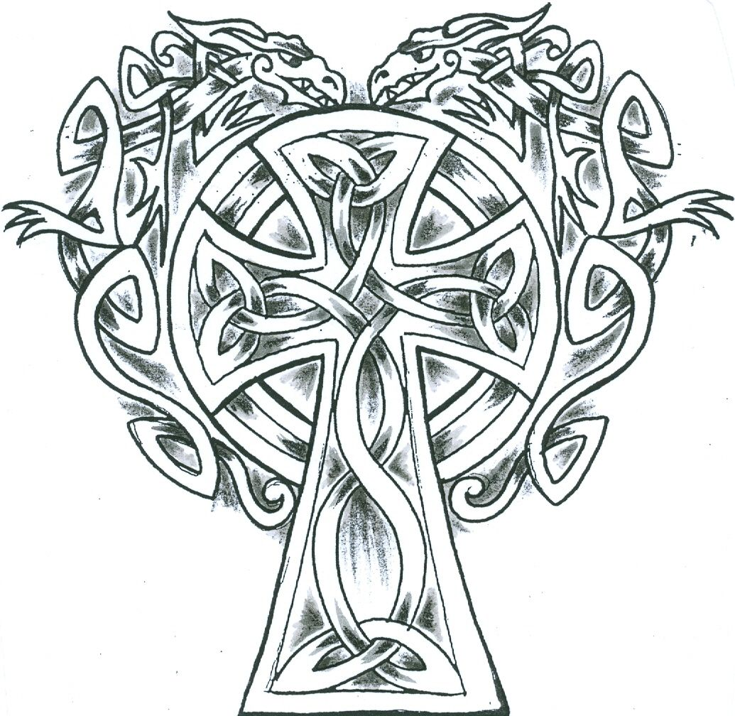 irish crosses   knotwork Celtic Cross with two Celtic Dragons