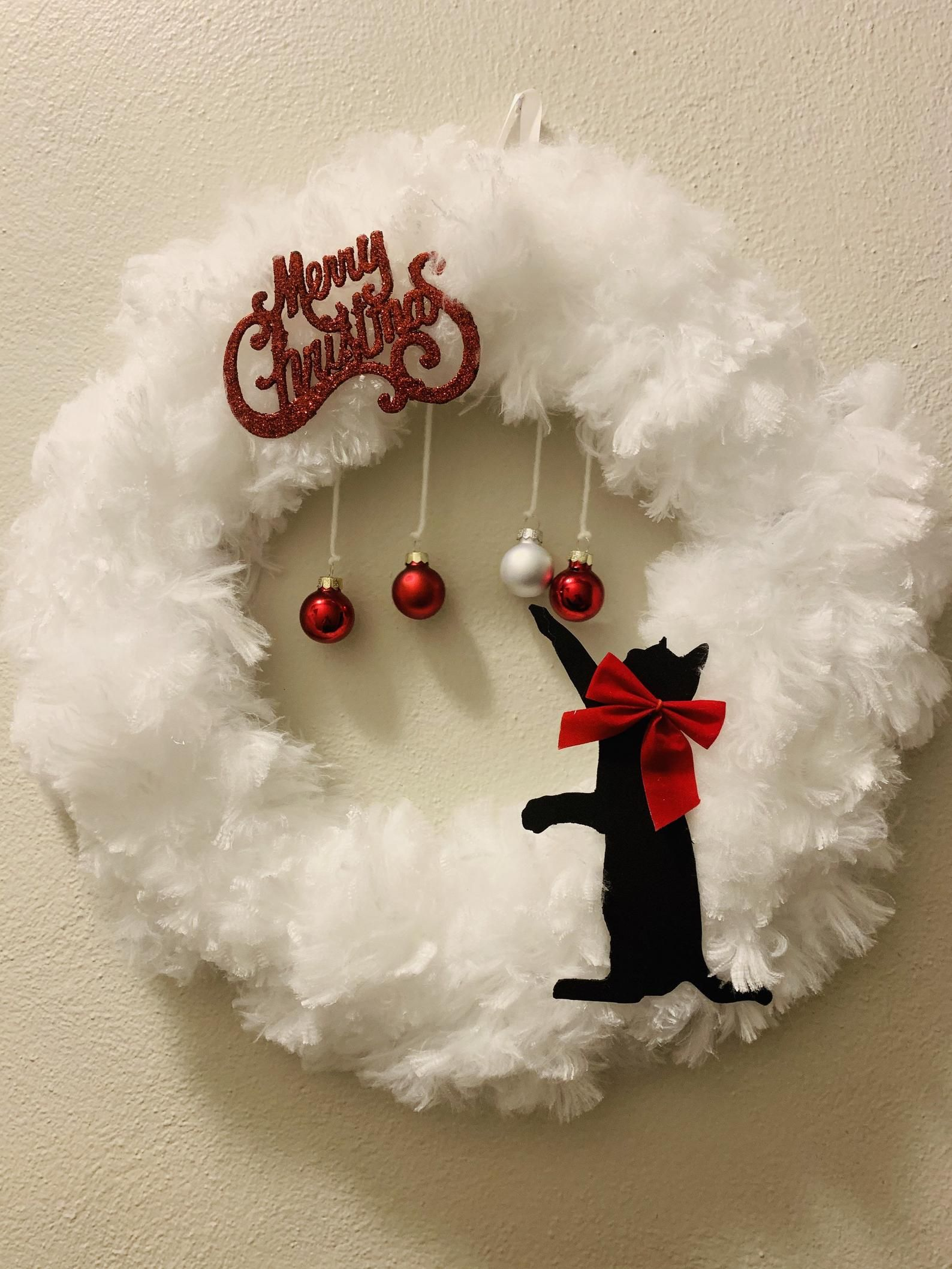 Cat Christmas Wreath Etsy In 2020 Cat Christmas Decoration Christmas Tree Decorations Diy Christmas Cats