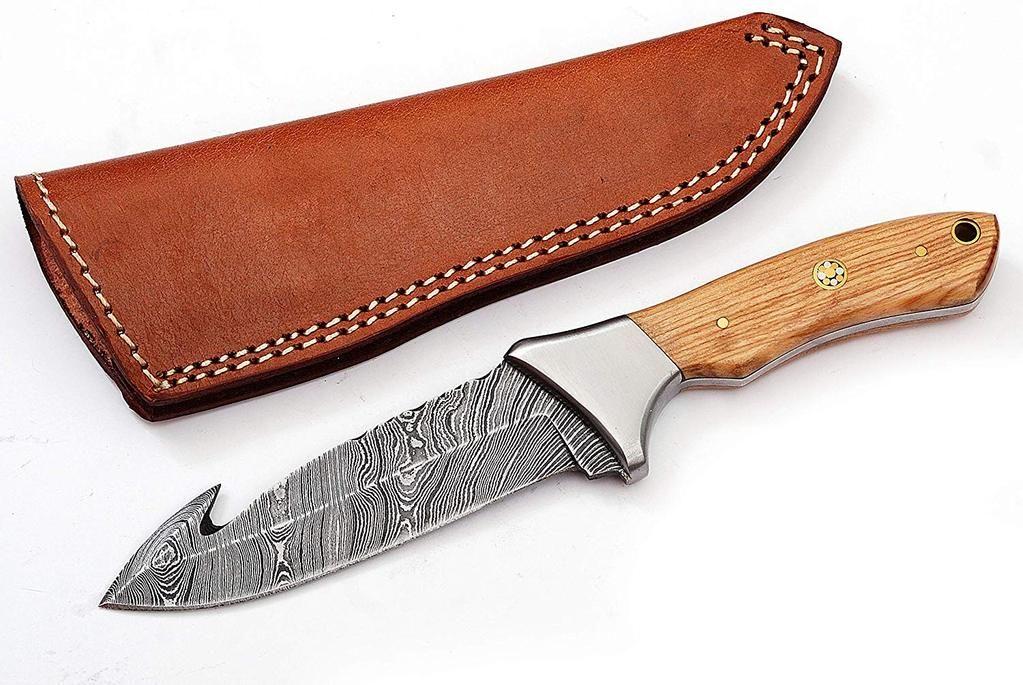 Custom Handmade Damascus Steel Gut Hook Hunting Skinning Knife With Leather Sheath Knives Hub Skinning Knife Leather Sheath Damascus Steel