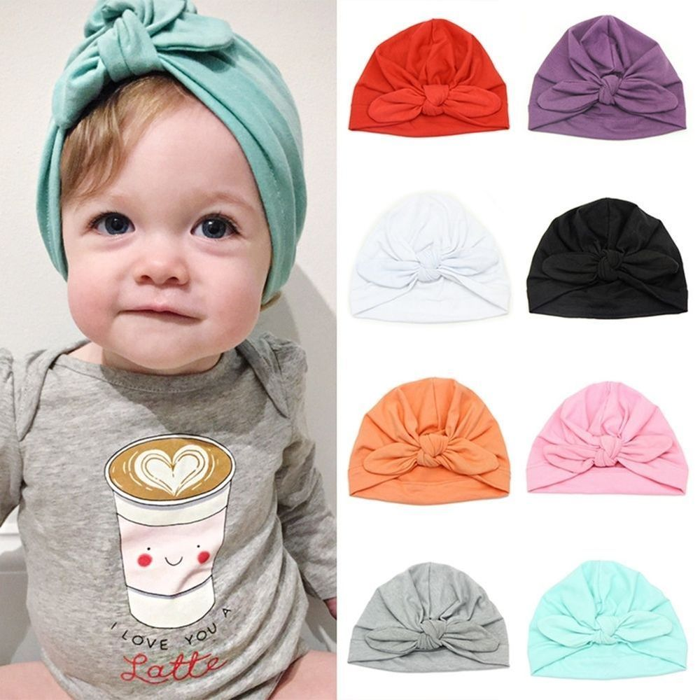 325d0ebd485c Baby Boy Girl Infant Newborn Winter Warm Beanie Cotton Bow Cap ...